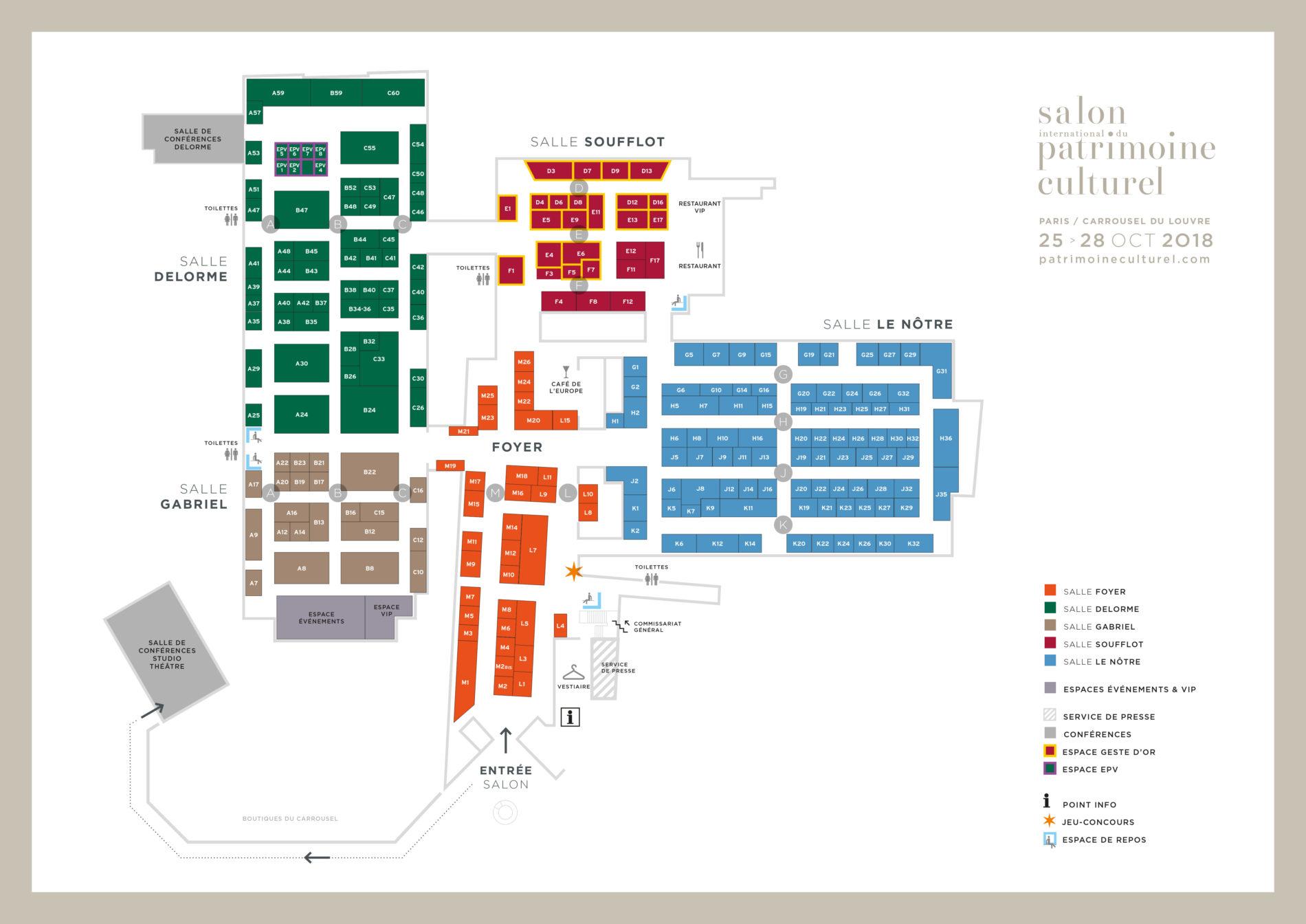 Plan du salon international du patrimoine culturel 2018